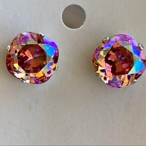 Sparkly Swarovski Rose Peach earrings